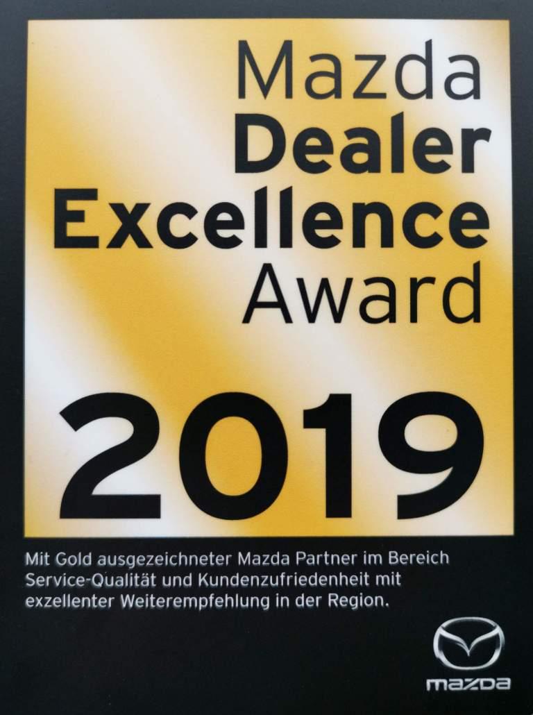 1. Platz - Mazda Dealer Excellence Award 2019